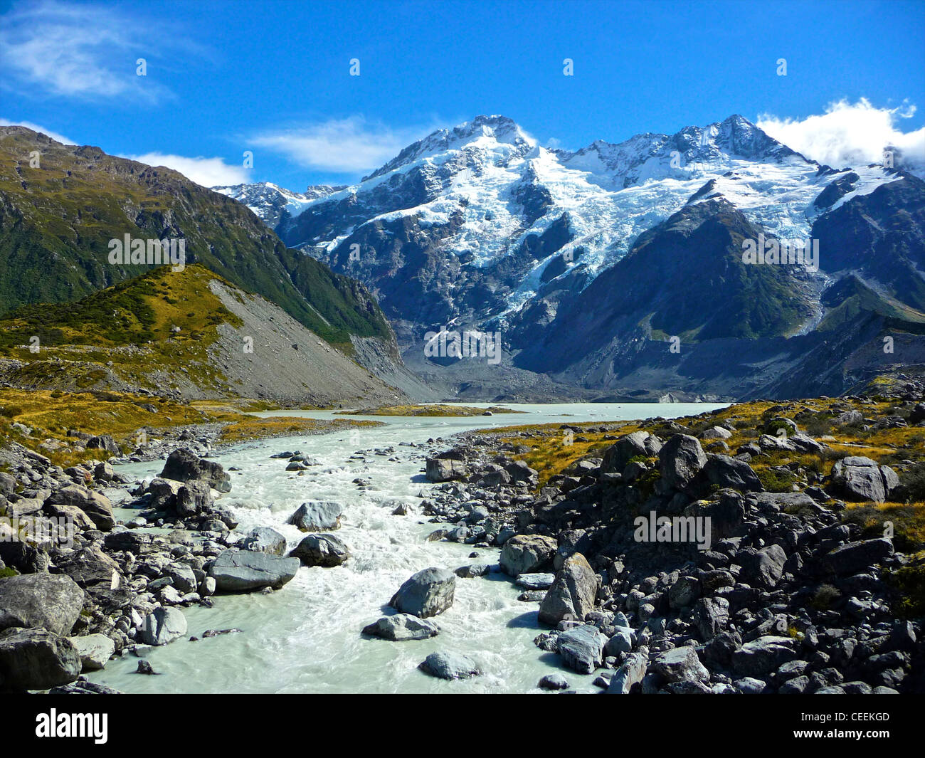Mount Cook in New Zealand South Island - Clear skies clean air. From the archives of Press Portrait Service (formerly - Stock Image