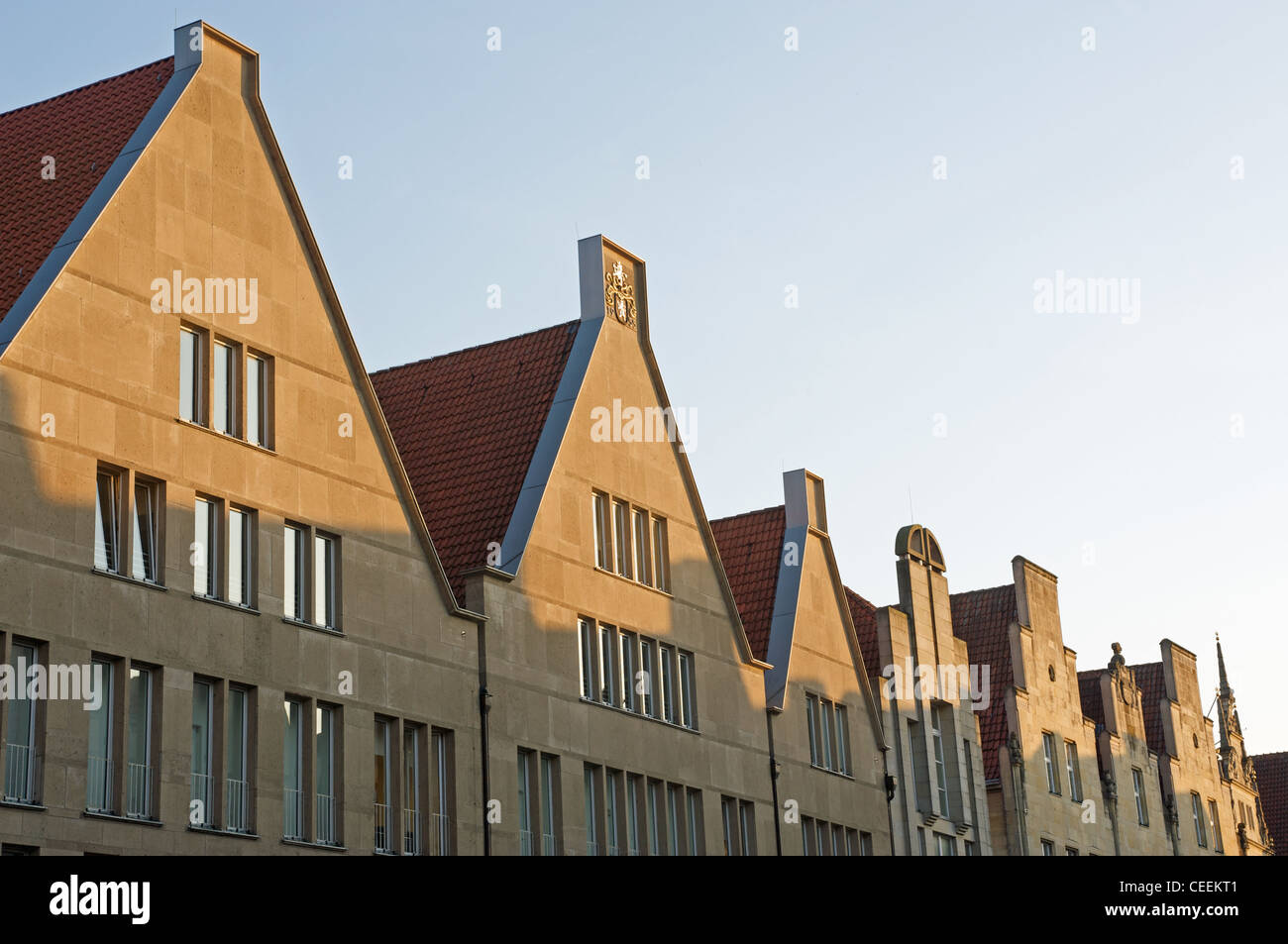 Gabled ended buildings Munster Germany - Stock Image