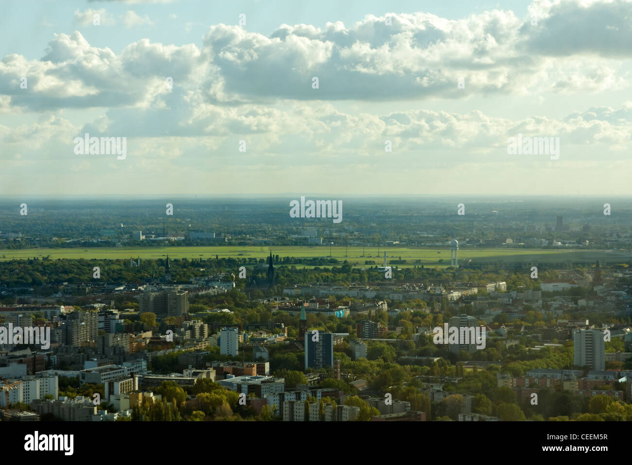 A view of the green city of Berlin, Germany and the old airport Tempelhof, the first airport that operated within - Stock Image