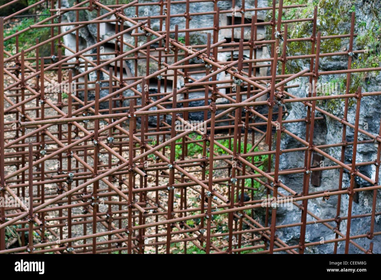 Scaffolding in Pompeii Italy - Stock Image