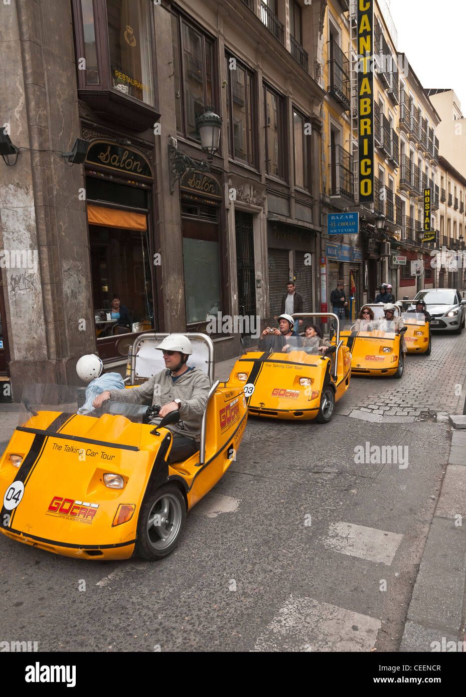 The talking car tour. Self drive, GPS guided tours around Madrid, Spain. - Stock Image