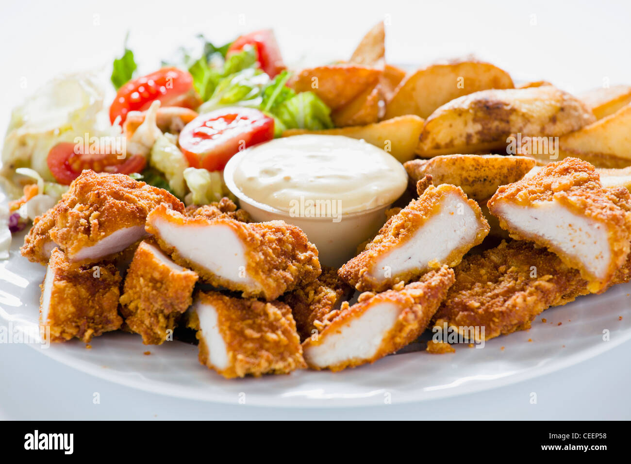 Fried Chicken Strips - Stock Image