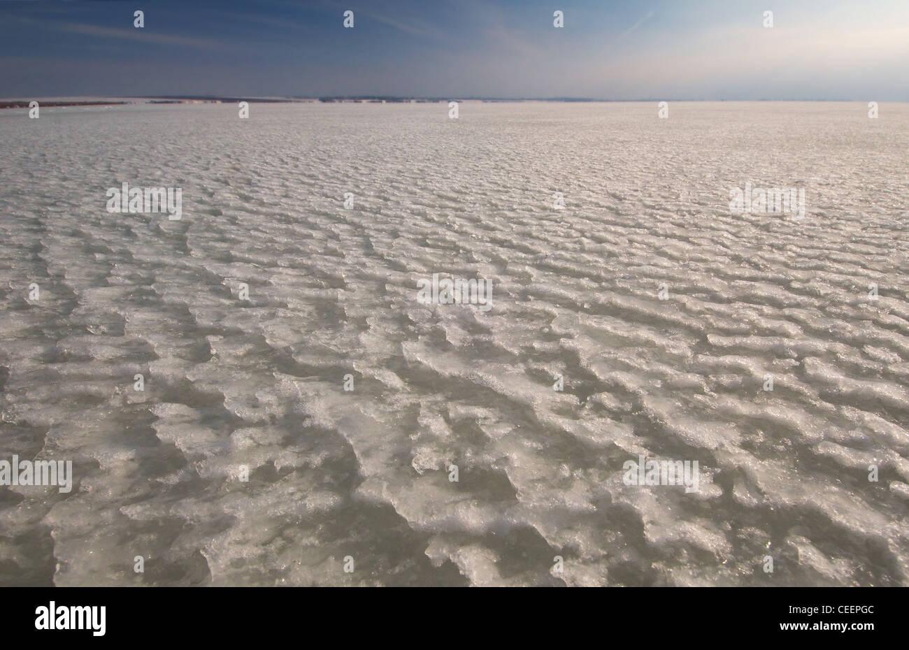 Frozen Black Sea, a rare phenomenon, occured in 1977 for the last time, Odessa, Ukraine, Eastern Europe - Stock Image