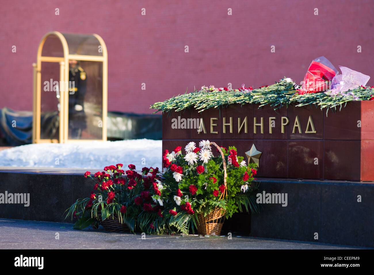 Flowers to the tomb of Leningrad-hero city to commemorate 68-th anniversary of the raising of a fascist blockade - Stock Image