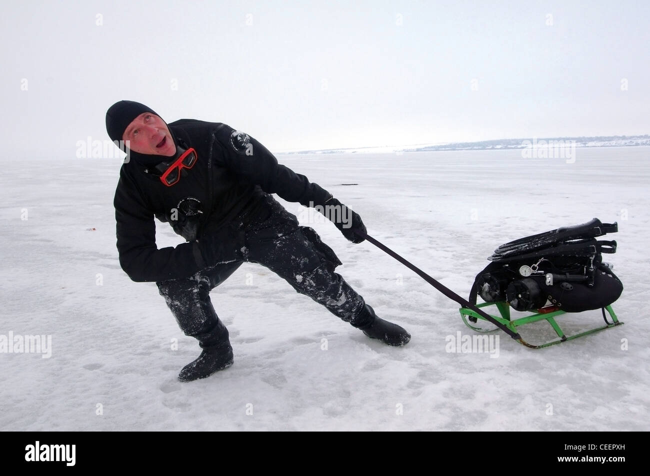 Subglacial diving in Black sea, Odessa, Ukraine, the Eastern Europe - Stock Image