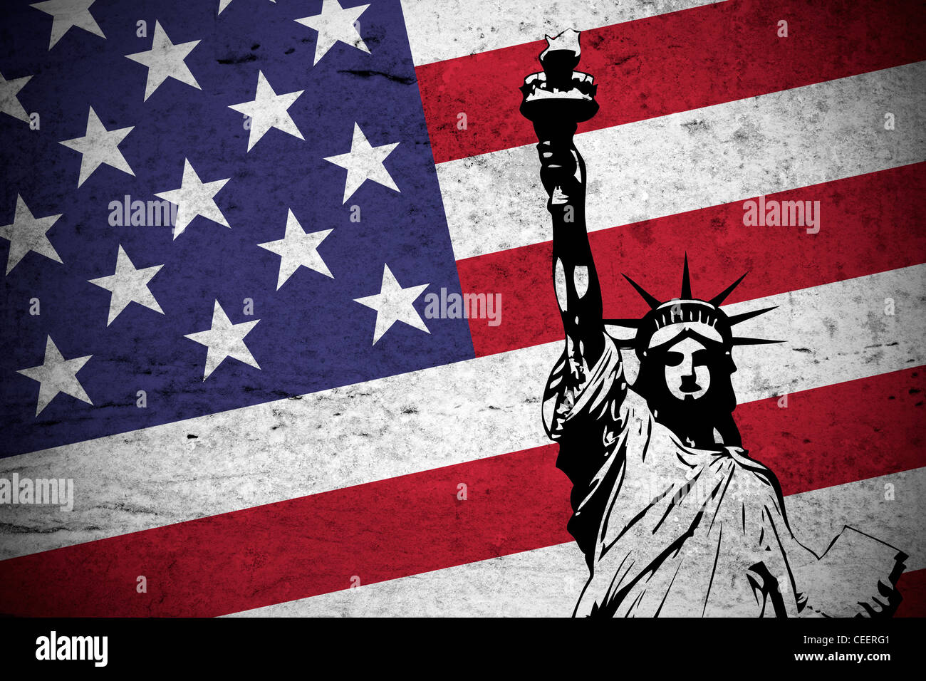 Close view of a grunge illustration of the american flag with the Statue of  Liberty printed 5839d6c6d797