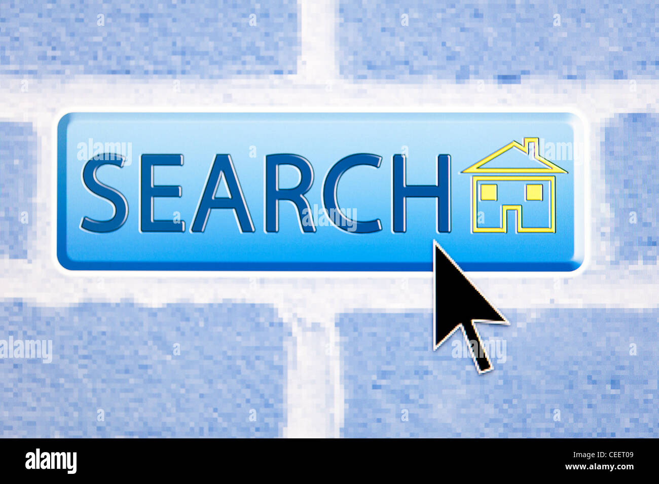 Cursor hovers over an Internet search button, superimposed against a brick wall - Stock Image