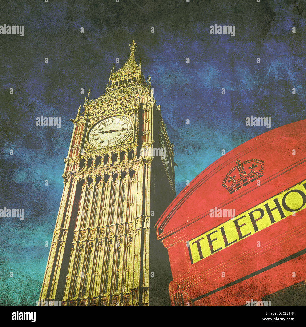 old photo of Big Ben - Stock Image