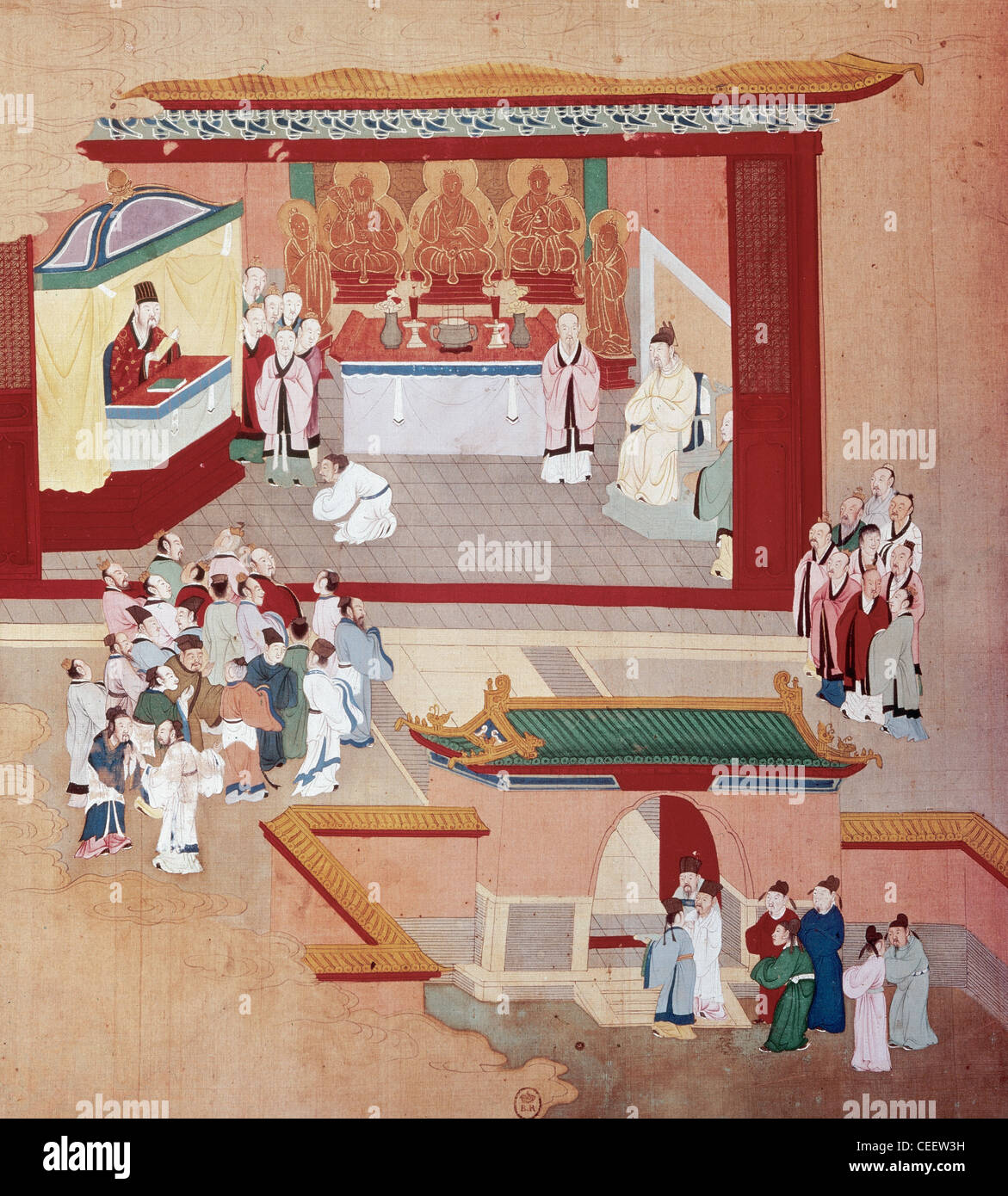Emperor Huizong (1082-1135), reign (1100-1126). Song dynasty. The emperor with the Buddhist sect Tao-See. Miniature. - Stock Image
