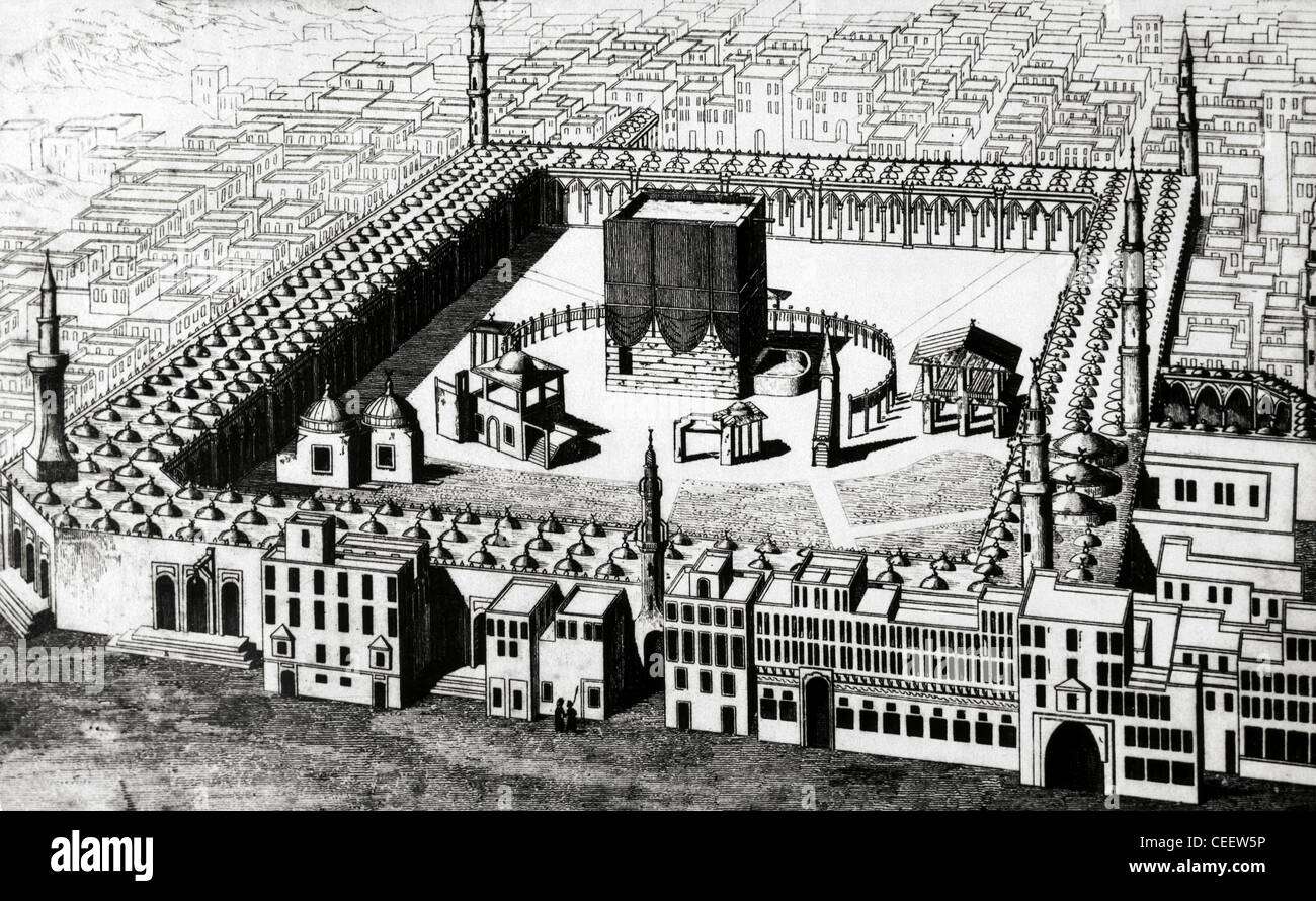 The Kaaba in Mecca, the most sacred site in Islam. Saudi Arabia. Engraving. 19th century. - Stock Image