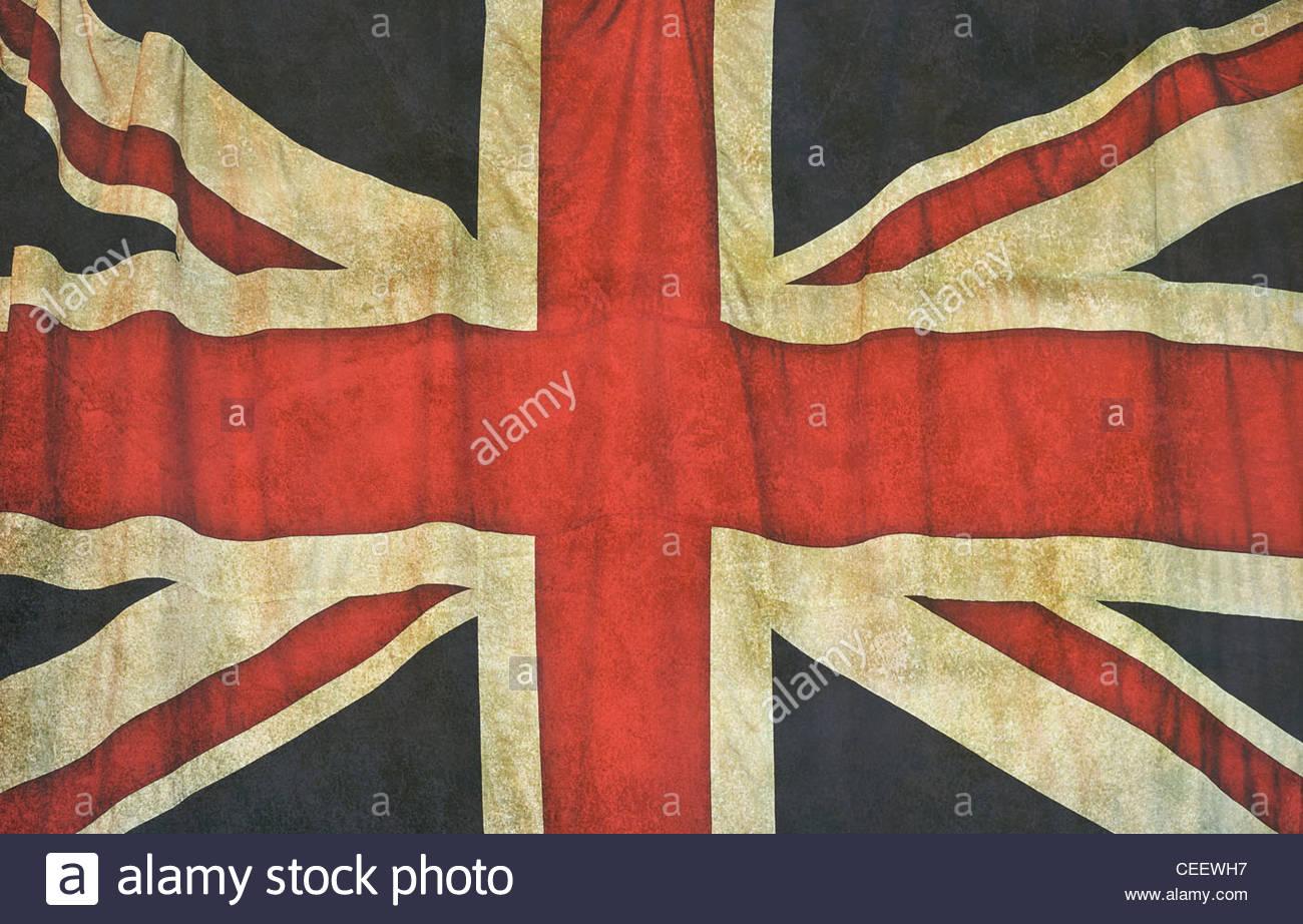 vintage union jack flag - Stock Image