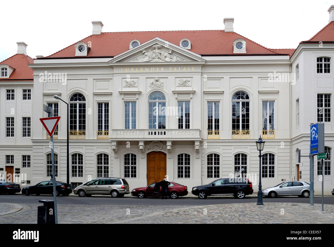 Historical building Kurlaender Palais in Dresden after the reconstruction. - Stock Image