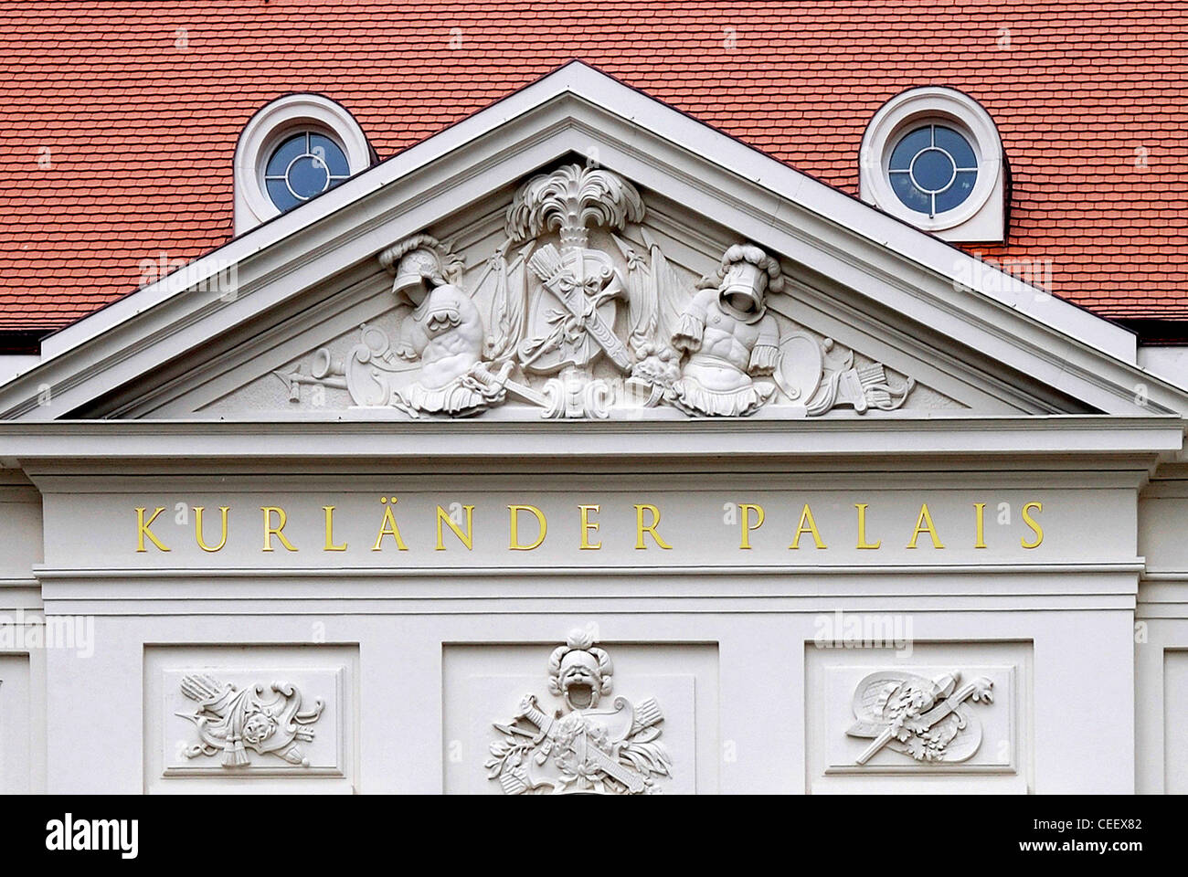 Portal of the historical building Kurlaender Palais in Dresden after the reconstruction. - Stock Image