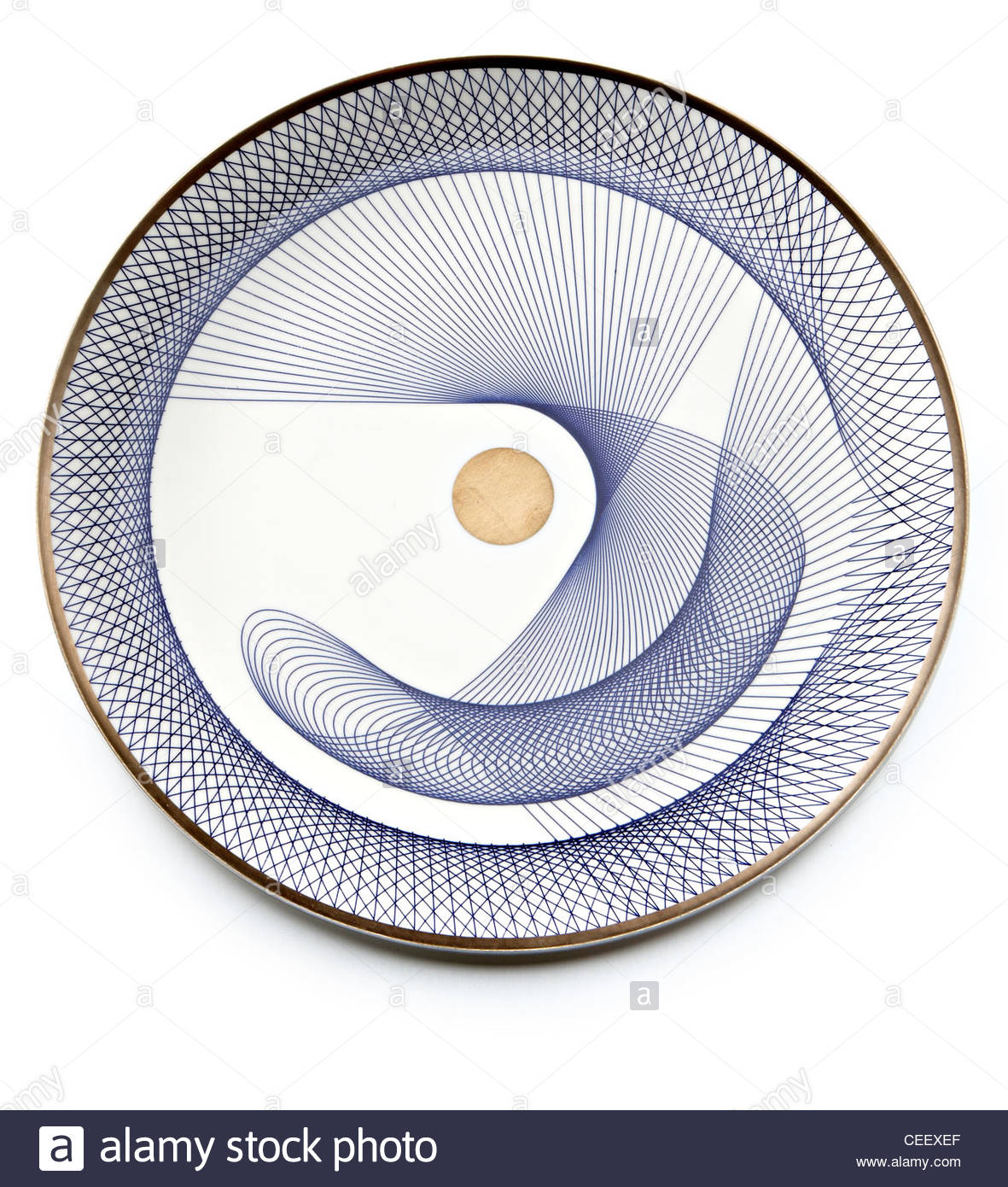 plate with spiral geometric design pattern - Stock Image