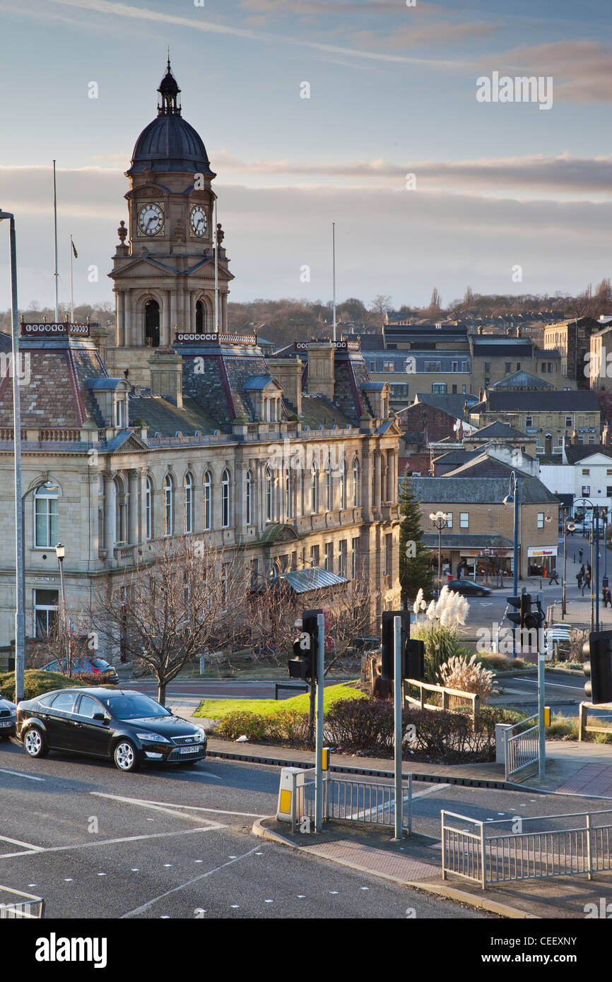 Dewsbury, West Yorkshire, with a view towards the Town Hall. - Stock Image