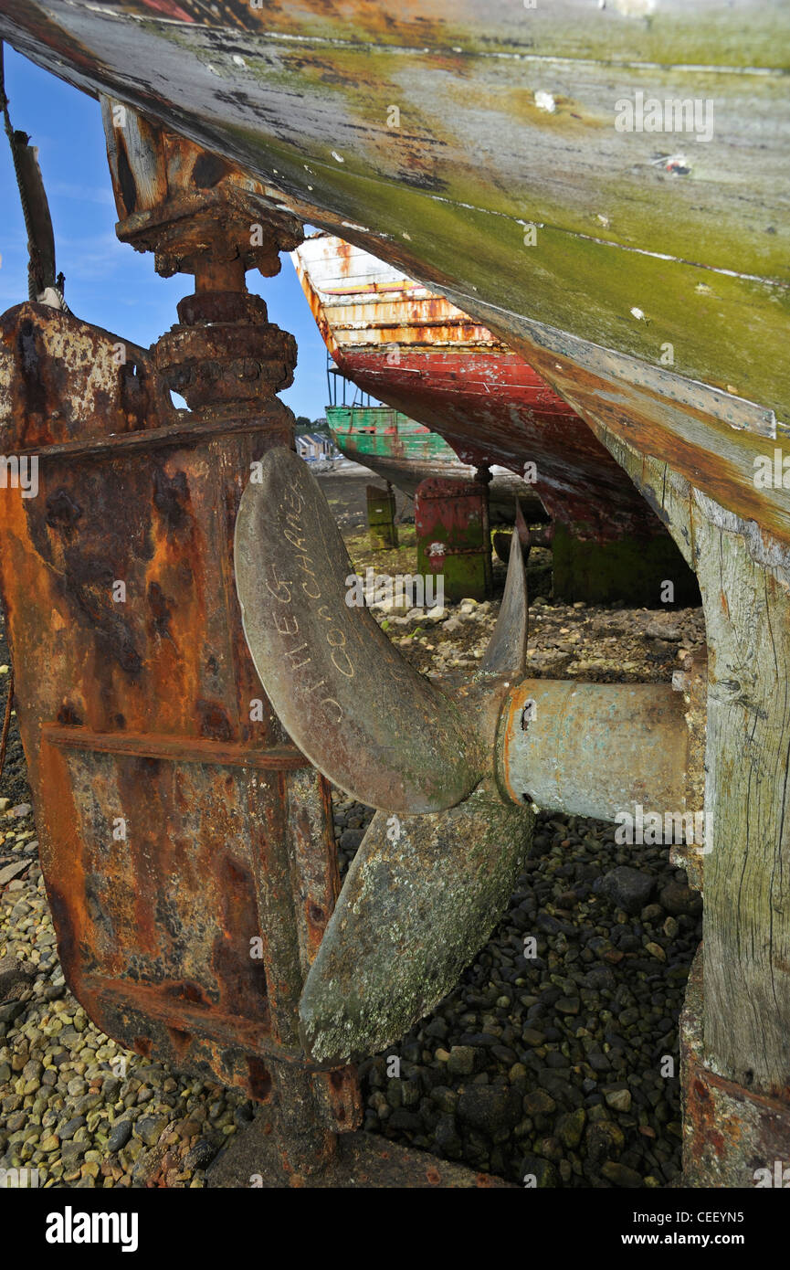 Screw propeller and rudder from wooden wreck of trawler fishing boat in the port of Camaret-sur-Mer, Finistère, - Stock Image