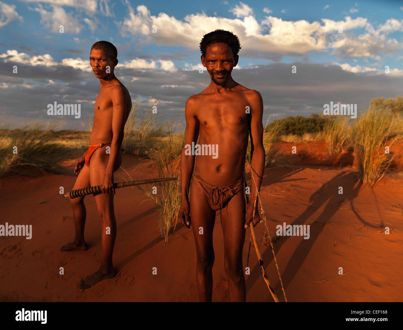 portrait of namibian bushmen - Stock Image