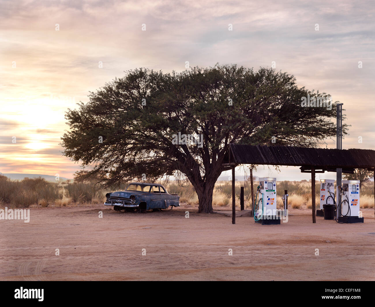 Petrol station in Kalahari Desert, Namibia, Africa - Stock Image
