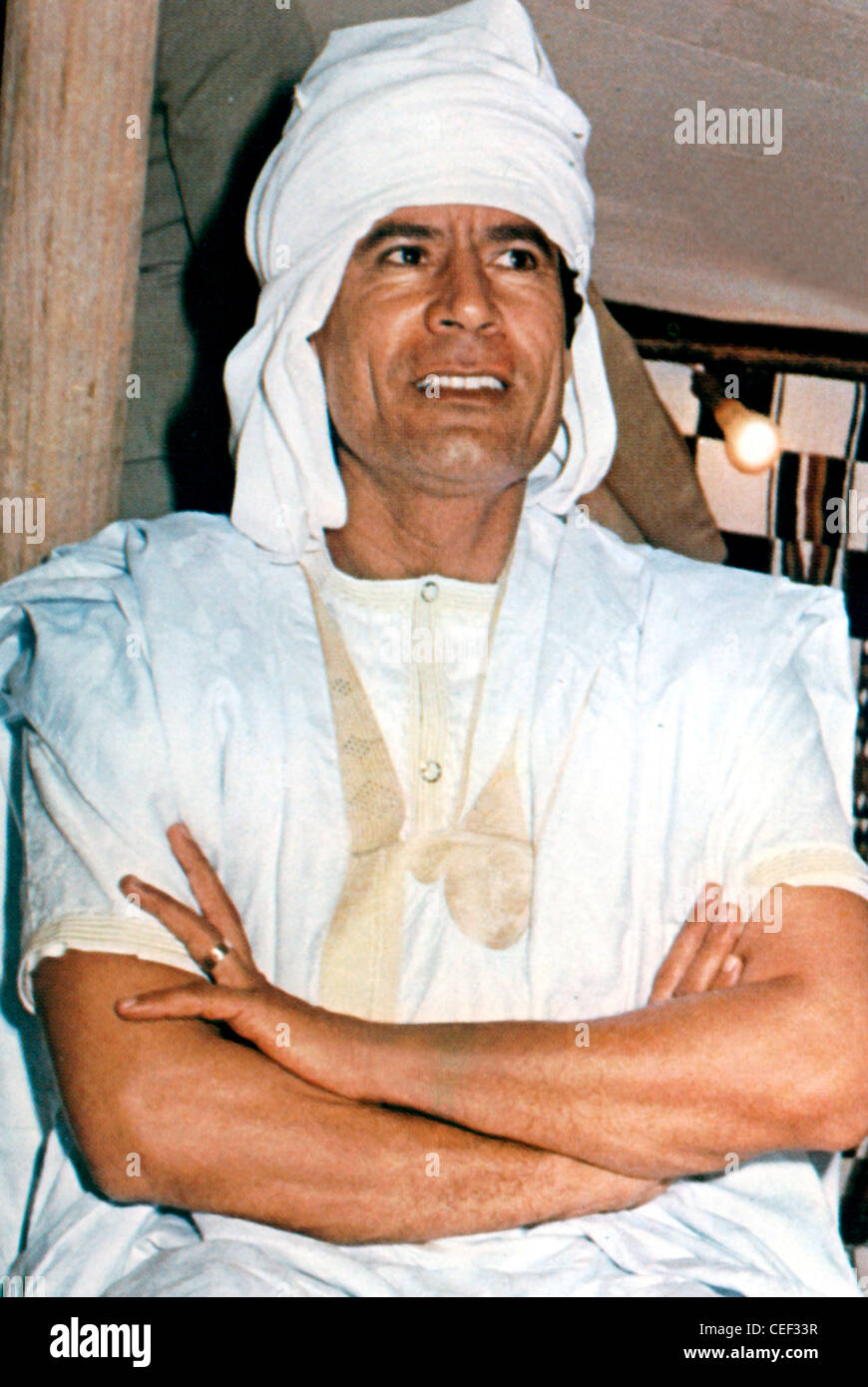 Propaganda poster of the Libyan leader Muammar al Gaddafi - *19.06.1942 - 20.10.2011. - Stock Image