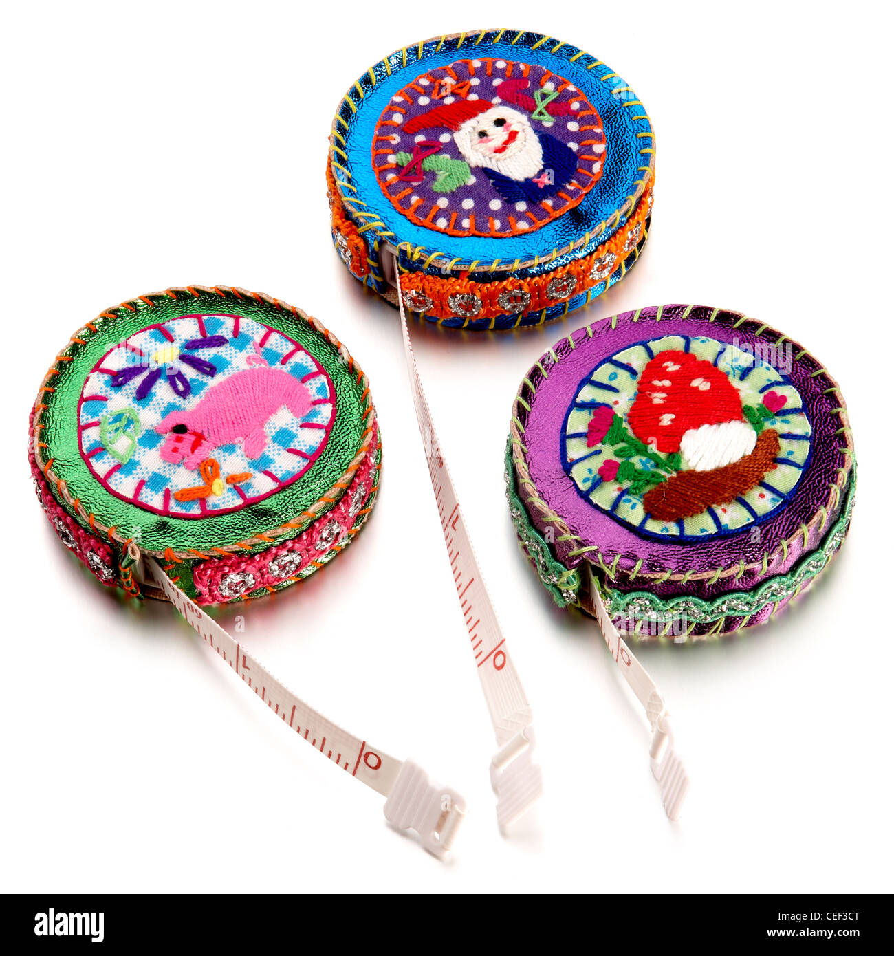 3 beaded measuring tapes - Stock Image