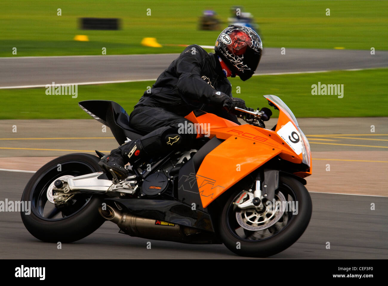 A photograph of a KTM RC8 Motorcycle on a track day - Stock Image