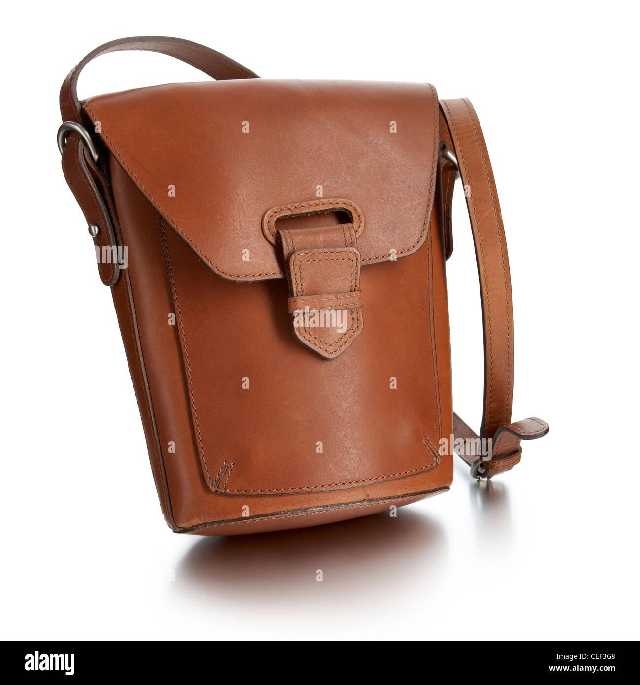 leather messenger bag - Stock Image