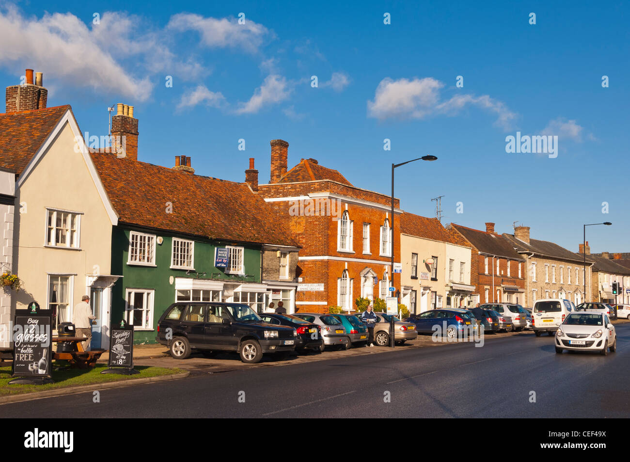 The High Street in Long Melford , Suffolk , England , Britain , Uk - Stock Image