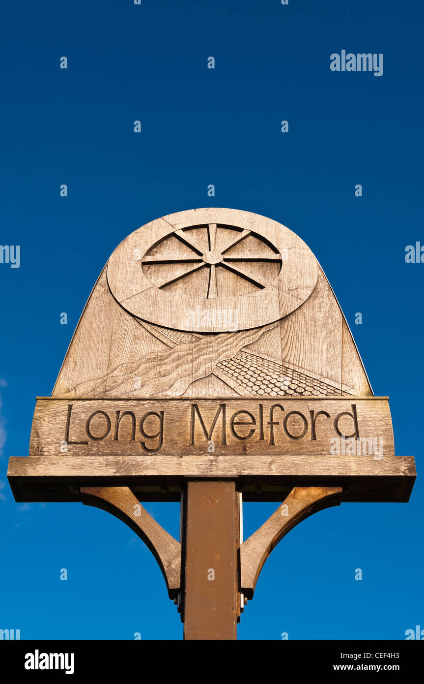 The village sign in Long Melford , Suffolk , England , Britain , Uk - Stock Image
