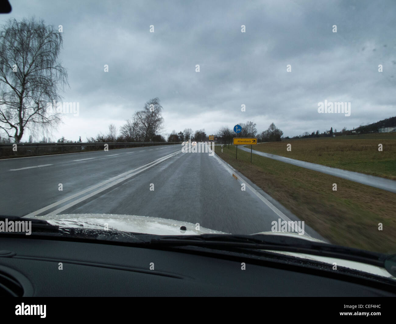 Driving in overcast weather - Stock Image