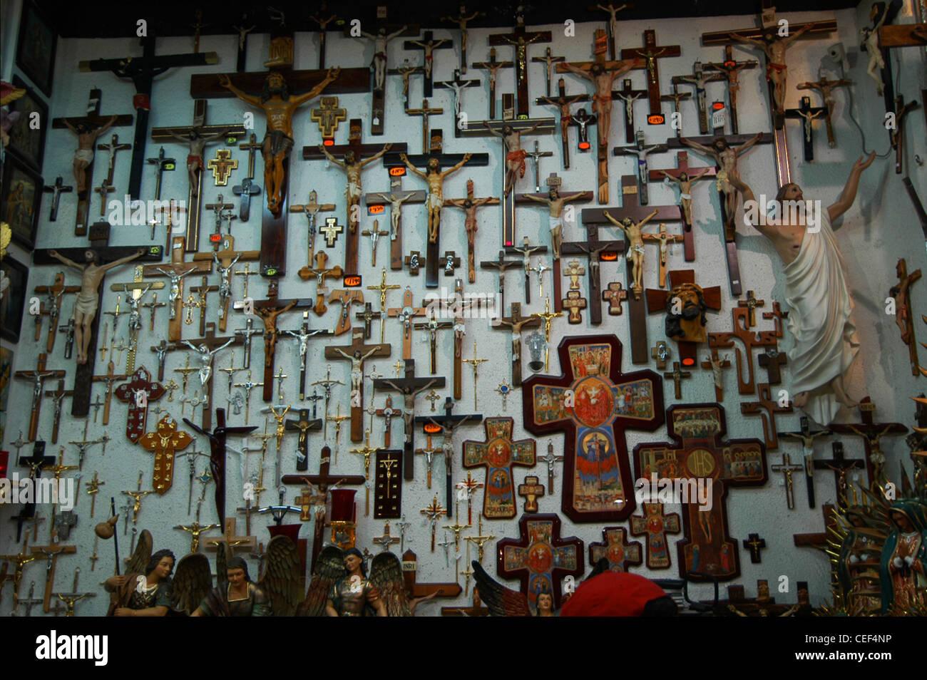 Mexico City shop with crucifix, crucifixion, Jesus, souvenir, memento, cross - Stock Image