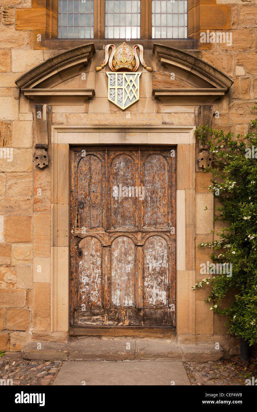 The ancient door of Bishop Cosin's Library, 1669, entrusted to the university in 1935, Durham City, England. - Stock Image