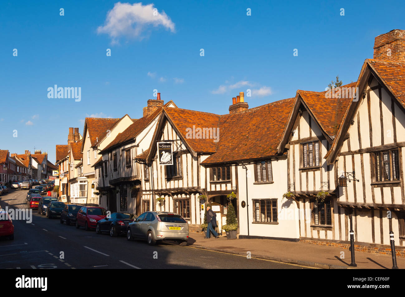The Swan Hotel and High Street in Lavenham , Suffolk, England , Britain , Uk Stock Photo