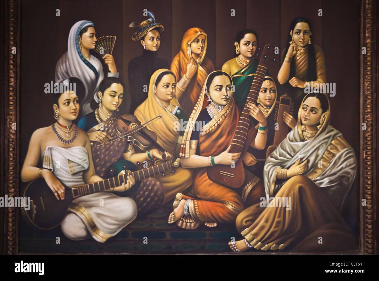 Painting of India girls, Udaipur, Rajasthan, India - Stock Image