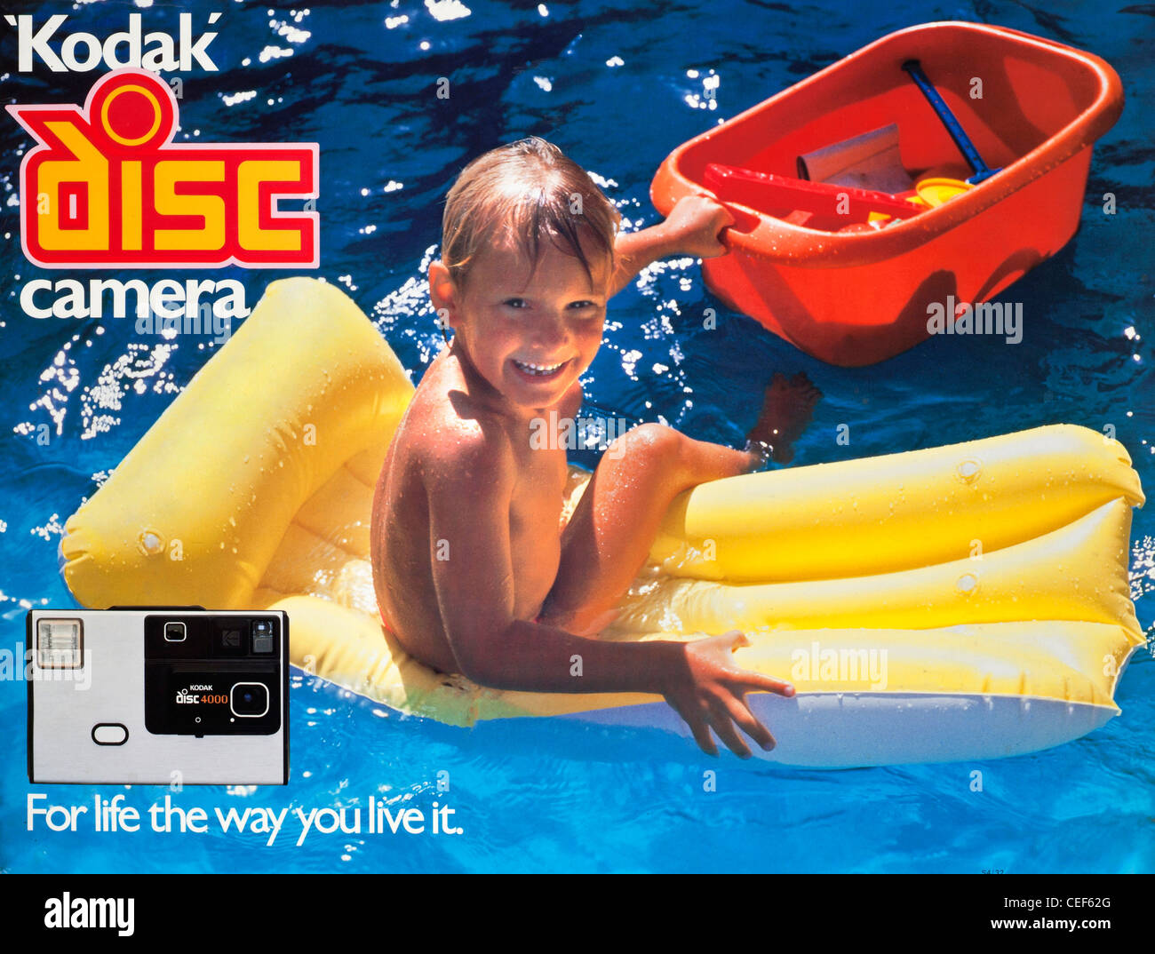 Archive/Timeless 'Kodak moment' ad campaign image 1982 Kodak Disc camera launch with caption ''For - Stock Image