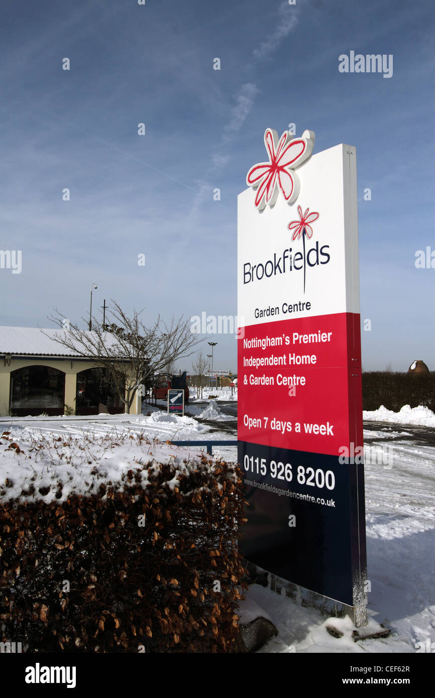 Brookfield's Garden Centre as seen from the main road during the snow - Nottingham's Premier Independent - Stock Image