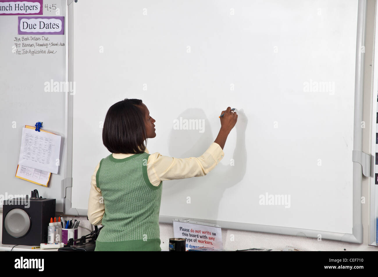multi ethnic racial diversity racially diverse multicultural multi cultural interracial inter female Teacher writing - Stock Image