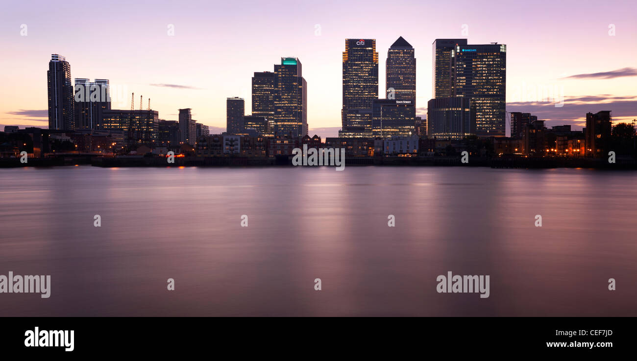 Canary Wharf on an August night - Stock Image