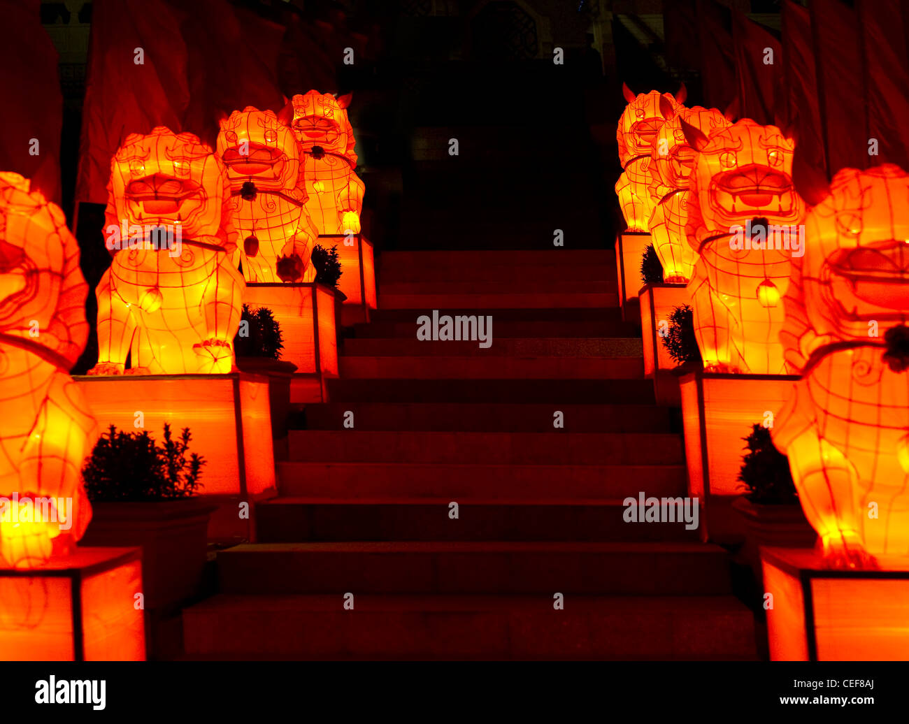 silk lanterns lighting up the night sky of singapore during the mid