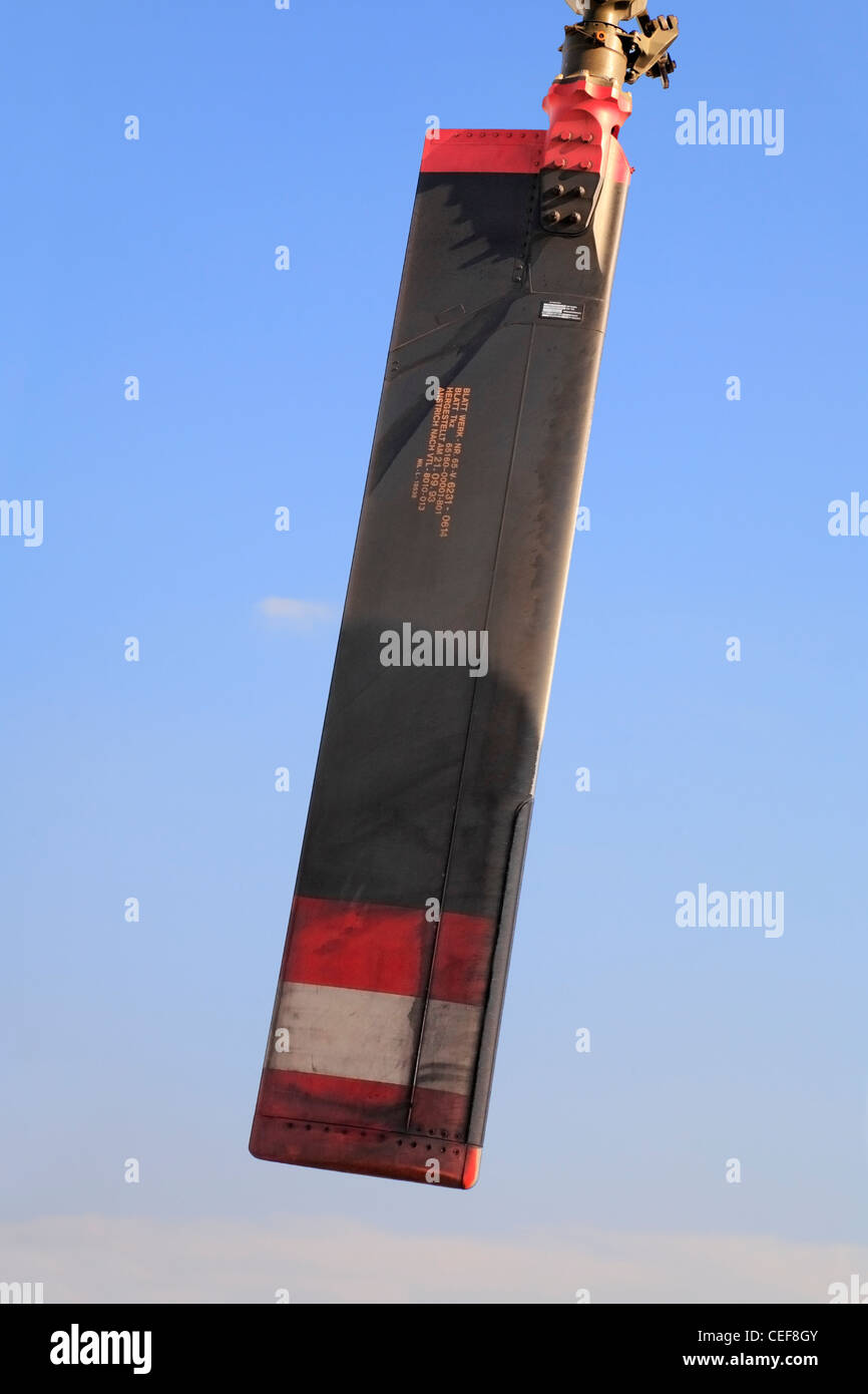 Tail rotor blade against blue sky, military helicopter - Stock Image