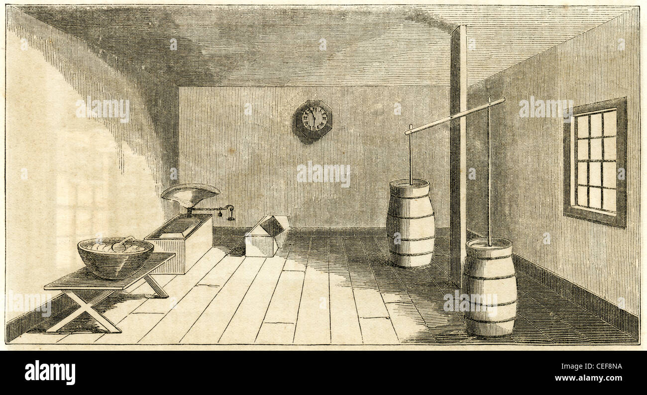 Butter churn room. Circa 1860 view of Colonel Zadock Pratt's farm building and dairy, Prattsville, New York, NY, Stock Photo