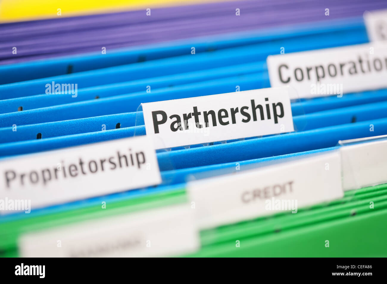 Partnership business entity filed in a blue folder - Stock Image
