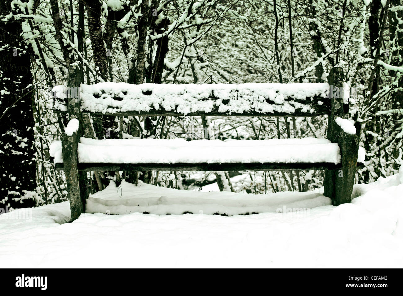 stone bench with snow - Stock Image