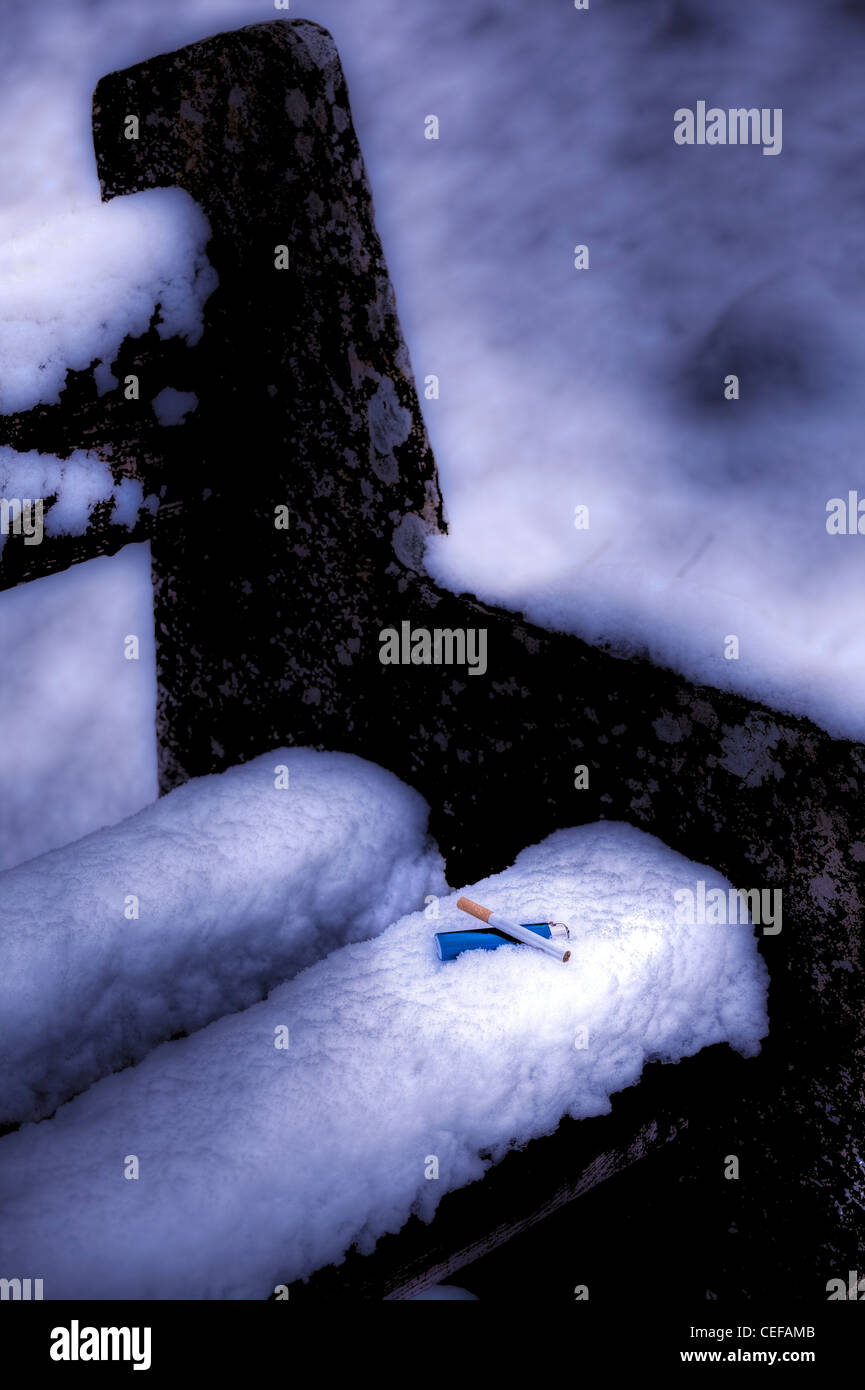Cigarette and a blue lighter in the snow on a stone bench - Stock Image