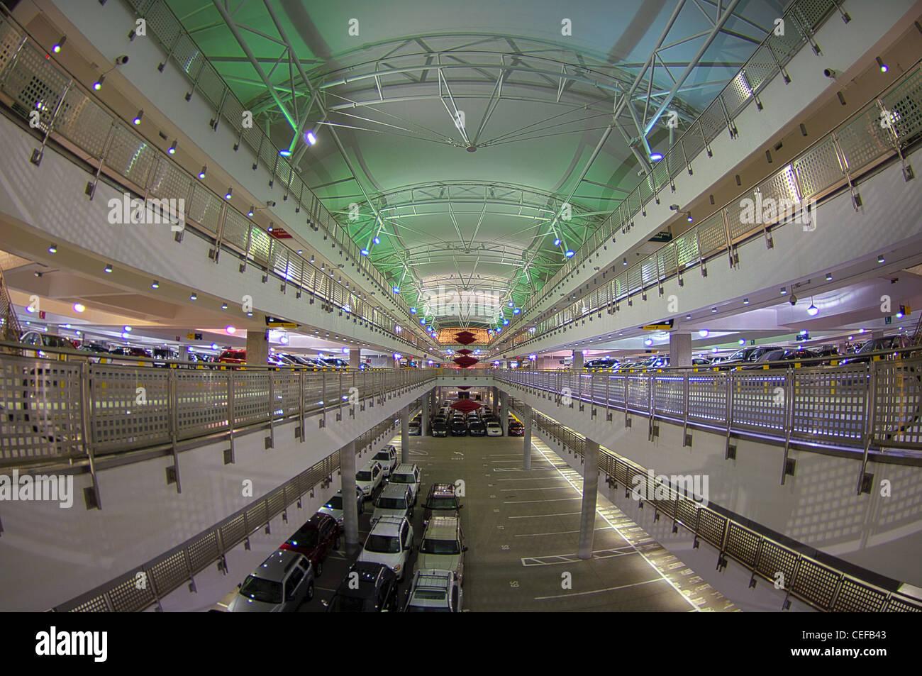 Indianapolis airport garage at night HDR image - Stock Image