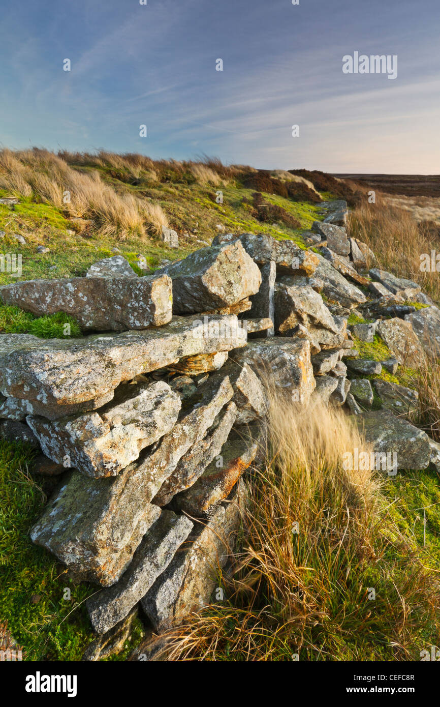 The stone wall of Sikehead Dam on Buskshott Moor near the village of Blanchland, County Durham, England - Stock Image