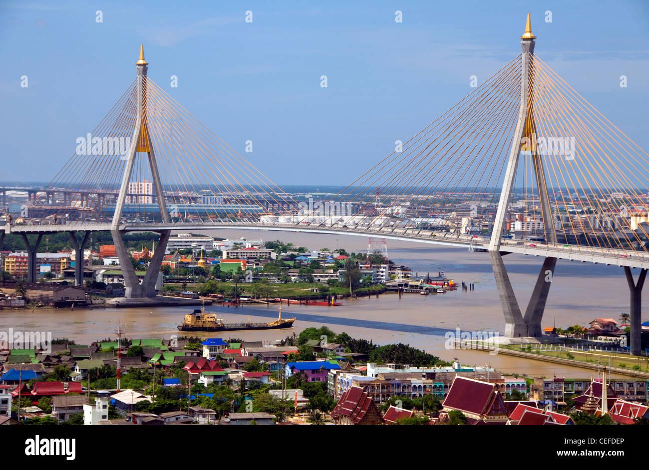 Chao Phraya River, Bhumibol 1 Bridge, mega bridge which makes up the industrial ring road and city skyline, Bangkok, Stock Photo