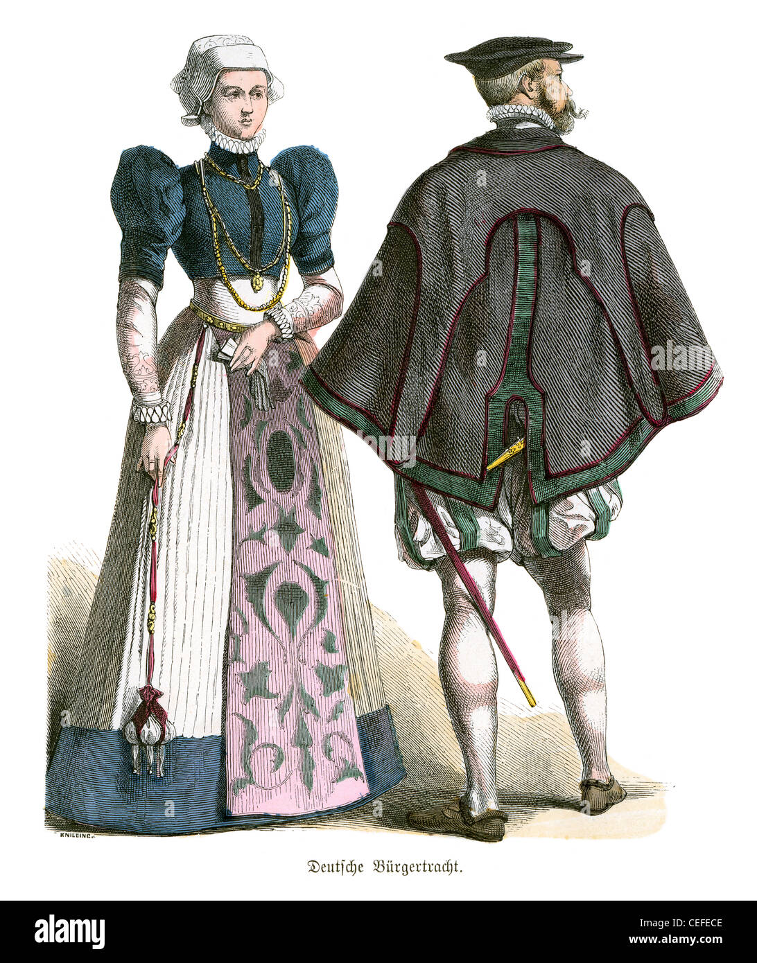 A couple in German Burger (Burgomaster) costume of the 16th century - Stock Image