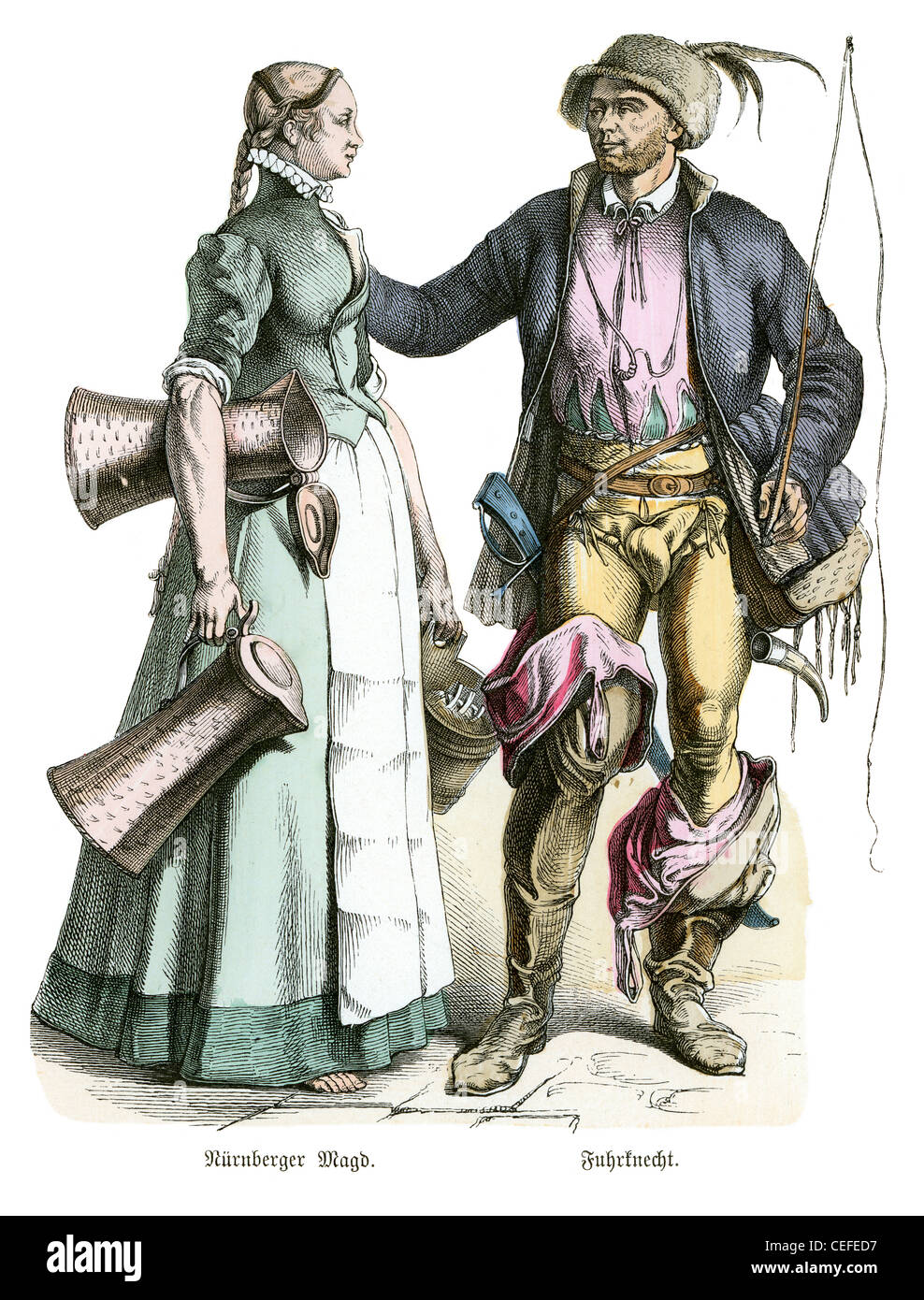 A German maid and a driver in the fashion of the 16th century - Stock Image
