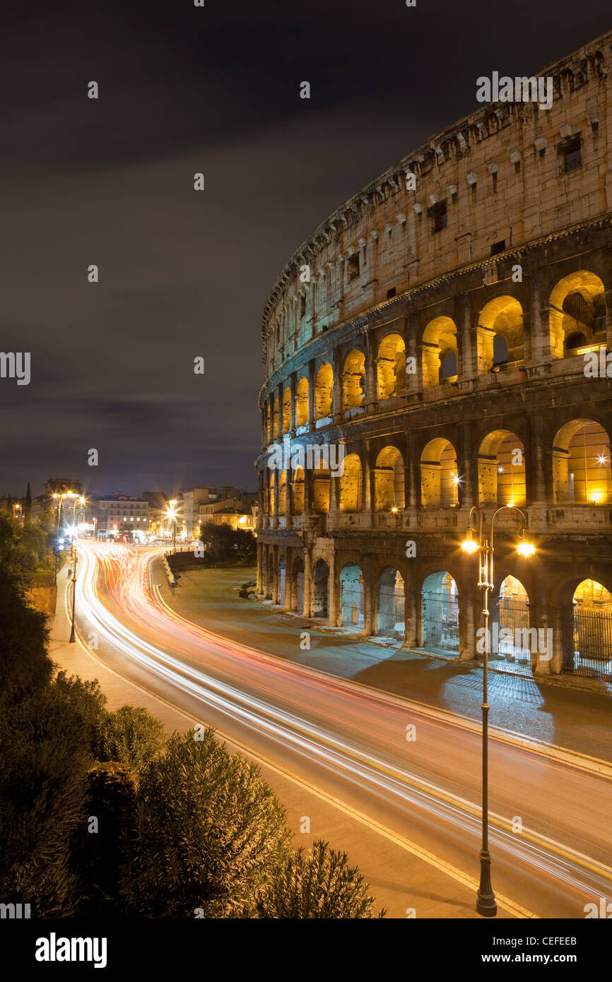 Time lapse view of Coliseum and traffic Stock Photo
