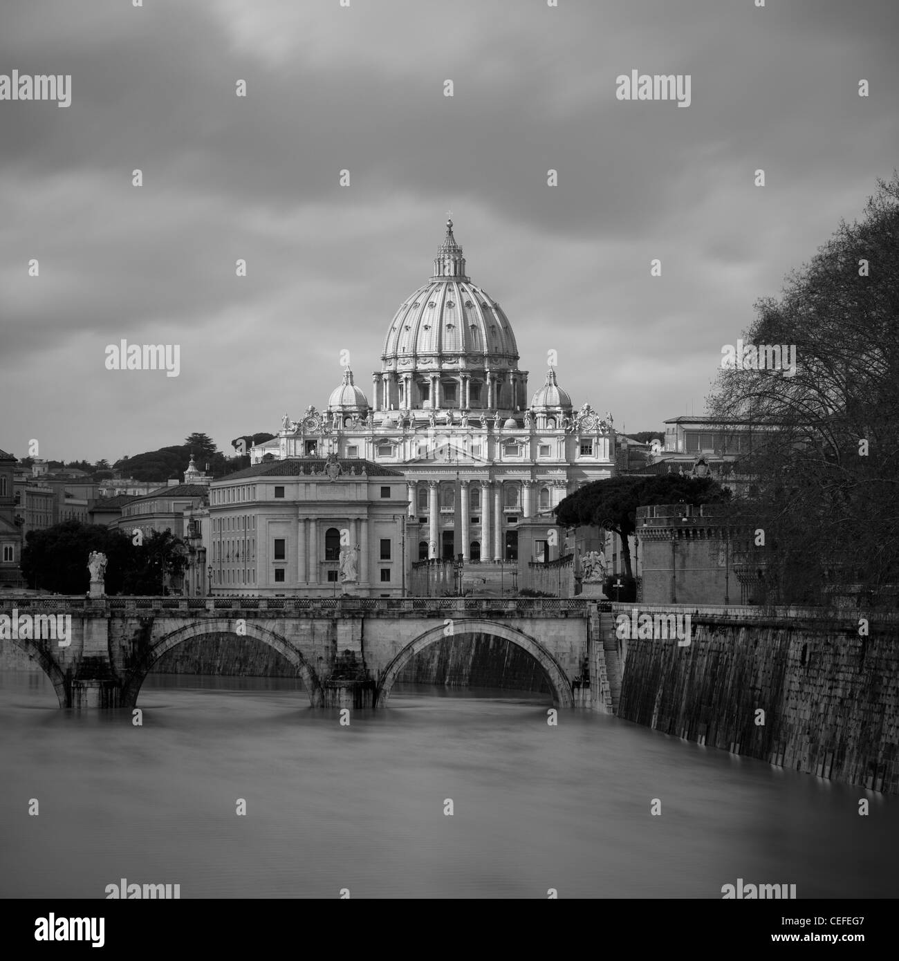 St Peter's Basilica and river - Stock Image
